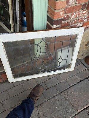 Sg 474 Antique Center Design Leaded Glass Transom Window 5