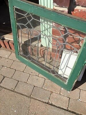 Sg 658 Antique Leaded Glass Window Floral Design 3