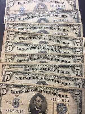 1934 WELL Circulated Five Dollar ($5) Silver Certificate Bill ...