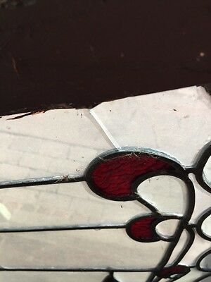 SG 445 Antique Transom Glass Window Hot Red Design 6