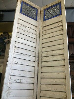 Old Wooden Shutters With Leaded Stained Glass 5