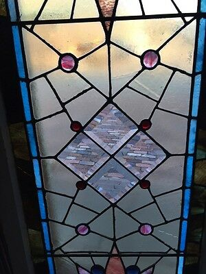 Sg 282 Jeweled Antique Eastlake Transom Stainglass Window 3