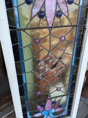 Sg 282 Jeweled Antique Eastlake Transom Stainglass Window 9