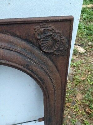Architectural Salvage Fireplace Mantel Insert Cast Iron Arch Surround Seashell 3