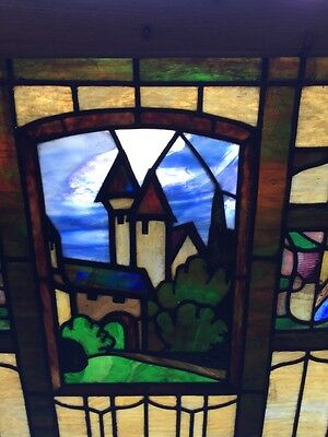 Sg 509 Antique Rudy Brothers Stainglass Birkholz Castle Window 3