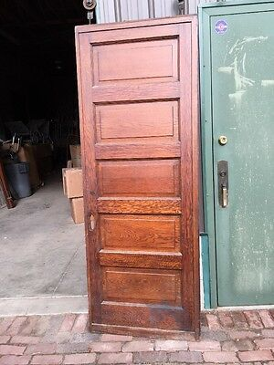 R D 23 One Antique Oak Raise Panel Pocket Door 7