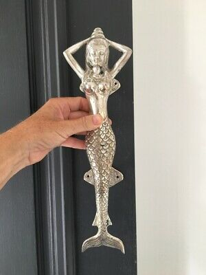 "medium MERMAID silver plated brass door PULL old style heavy PULL handle 13""  B 2"