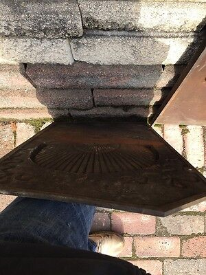 Fb 27 Three Peas Antique Cast-Iron Fireback Fan Shell Ribbon Design 5