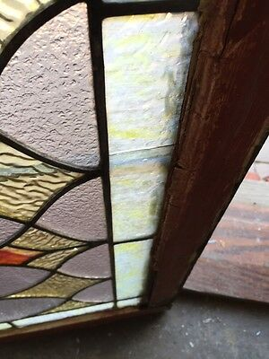 St 383 Antique Triple Sprout Stained Glass Transom Window 3