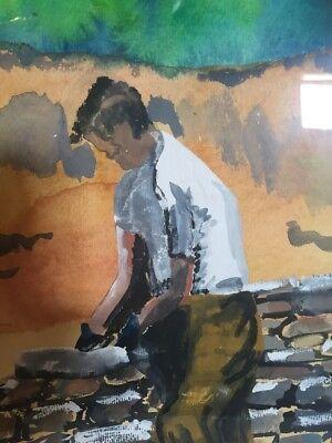 Original Painting Watercolor Man Building Stone Wall Primitive Framed Vintage 6