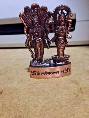 Lord Vishnu Laxmi Lakshmi Narayana Antique Metal Mini Statue Hindu God Idol