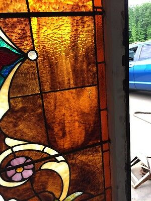 "Ca 9 Antique Stained Glass Landing Window 36"" X 8' 9"