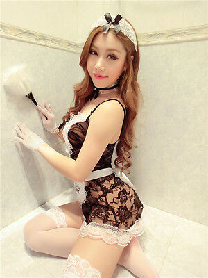 Set Costume Completino Cameriera Maid Serva Sexy Cosplay Lace Lingerie Calze Sex 7