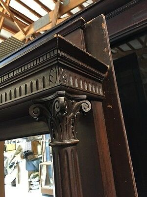 A 2 Antique Fireplace Mantel Oak Carved 6