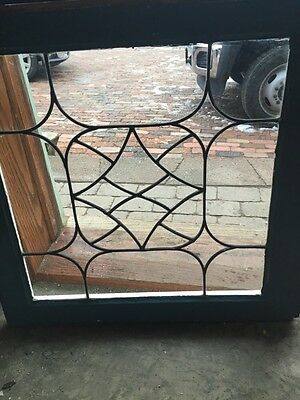 """Sg 416 Matched Pair Antique Leaded Glass Windows 24.5 X 25"""" 3"""