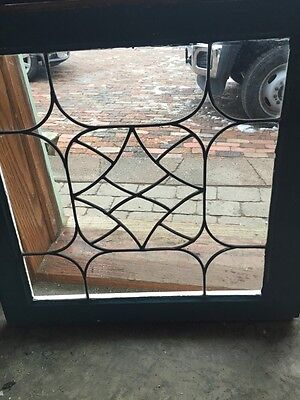 "Sg 416 Matched Pair Antique Leaded Glass Windows 24.5 X 25"" 3"