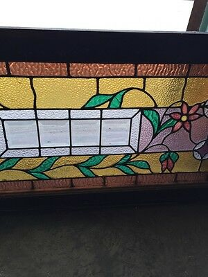 Sg 588 Antique Floral Vine Transom Window Beveled Glass Center 4