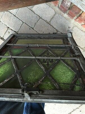 Sg 327 Two Matching Antique Fluer De Lis Windows In Cast-Iron Frames