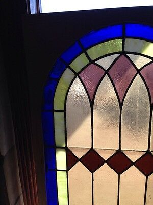Sg 135 Antique Arched Top Stained Glass Window 33.375 X 63.375 2