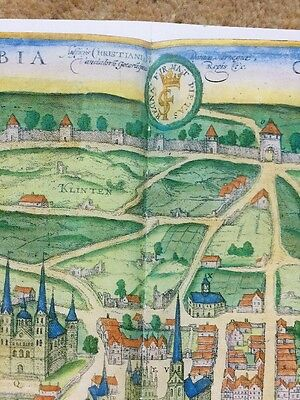 Old Historic Antique Map Visby, Sweden: 1598 by Braun & Hogenberg REPRINT 1500's 2