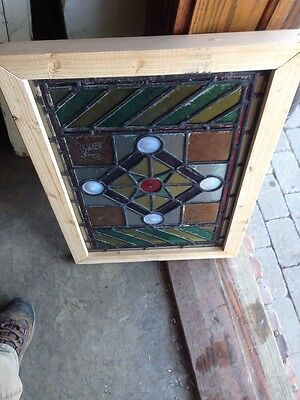 Sg 107 Antique Victorian Stained Glass Window With Rondell's And Painted Pieces