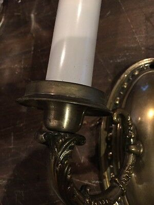L T 14 Matched Pair Antique To Arm Brass Wall Sconces
