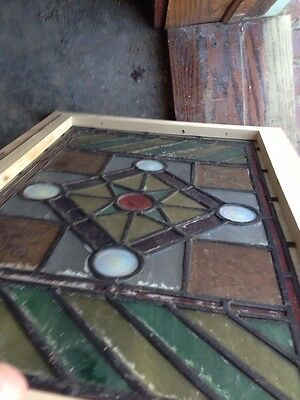 Sg 107 Antique Victorian Stained Glass Window With Rondell's And Painted Pieces 8
