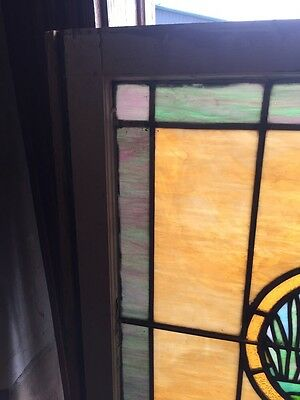 Sg 871 Antique Stainglass Lily Pad/Cat Tail Landing Window 3