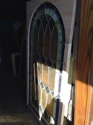 Sg 135 Antique Arched Top Stained Glass Window 33.375 X 63.375