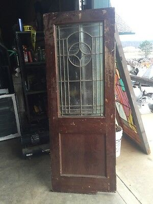 D202 Antique Swing Door With Textured Glass 29 Inch 79 Inch 8