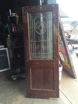 D202 Antique Swing Door With Textured Glass 29 Inch 79 Inch 8