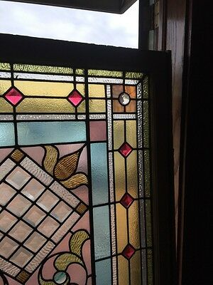 Sg 873 Antique Victorian Jeweled Landing Window 3