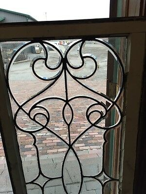 Sj 327 Groovy Antique Swirly Beveled  Glass Transom Large 2
