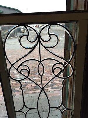 Sj 327 Groovy Antique Swirly Beveled  Glass Transom Large 2