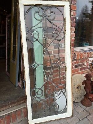 Sj 327 Groovy Antique Swirly Beveled  Glass Transom Large 5