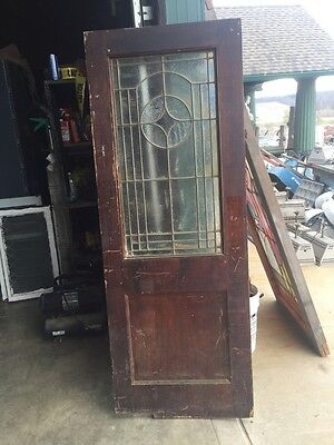 D202 Antique Swing Door With Textured Glass 29 Inch 79 Inch 2