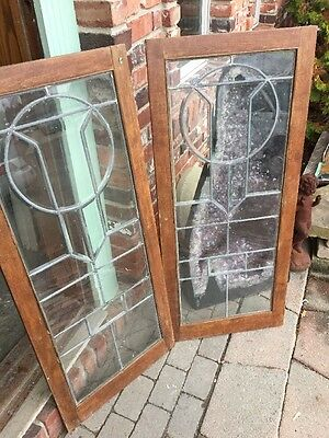 Sg 953 Matched Pair Antique Beveled Glass Leaded Glass Bookcase Doors