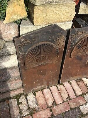 Fb 27 Three Peas Antique Cast-Iron Fireback Fan Shell Ribbon Design 2