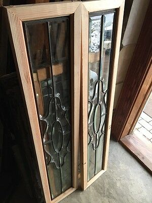 """Sg 633 Matched Pair Antique Beveled Glass Sidelights 10 3/4""""By 51"""" 8"""