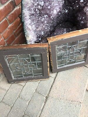 Sg 887 Matched Pair Antique Leaded Glass Windows 4