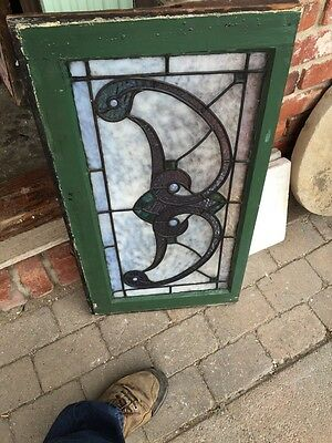 Sg 341 Antique Stained Glass With Jewels Transom Window