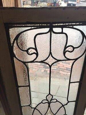 """Sg 800 Textured And Beveled Glass Transom Window 18"""" X 52"""" Antique 2"""