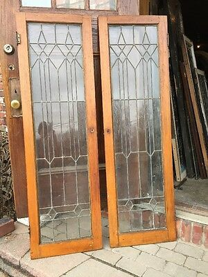 Sg 982 Matched Pair Antique Oak Bookcase Doors Arts And Crafts