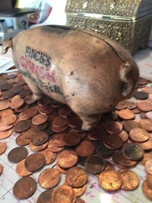 Fincks Overalls Cast Iron Piggy Bank Vintage Style Antique Advertisement 4+LBs