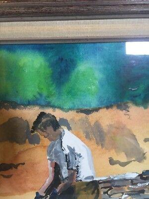 Original Painting Watercolor Man Building Stone Wall Primitive Framed Vintage 3