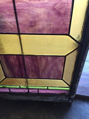 "Sg 283 Antique Stained Glass Geometric Window 21"" X 29"" 5"