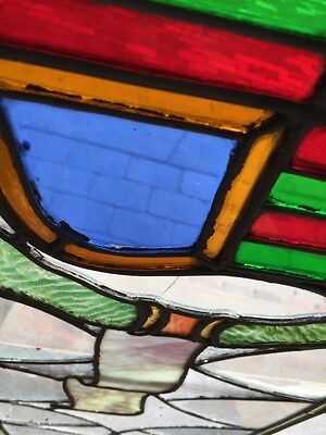 Sg 262 Antique Stained Glass Window Center Crest And Ribbon Design 6