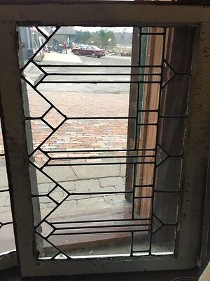 Sg 354 Matched Pair Antique Leaded Glass With Bevels Arrows Transoms