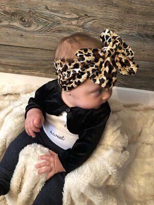 Newborn Baby Girls Leopard Bow Headband Infant Elastic Knot Hair Band Head Wrap 4