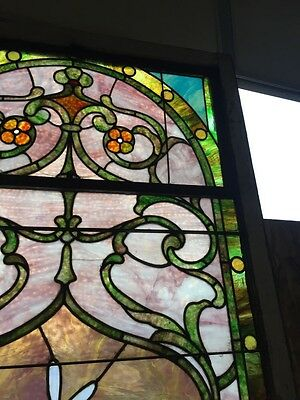 Sg 10 Gorgeous Antique Floral Landing Window Victorian Stained Glass 4
